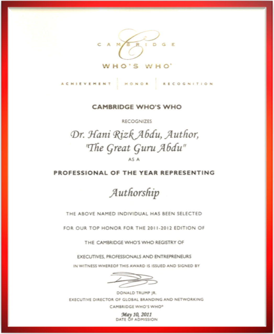 Dr. Hani Abdu - Certificate of the Professional of the Year in Authorship
